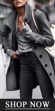 2019 Hot Sale Women's Coat Woman Coats woman in black coat Blazers For Women, Coats For Women, Jackets For Women, Women's Jackets, Women Pants, Look Fashion, Winter Fashion, Street Fashion, 80s Fashion