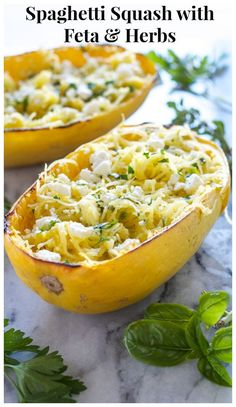 Spaghetti Squash with Feta and Herbs | Recipe Runner | Spaghetti squash is the perfect low carb, healthy alternative to pasta! So delicious with fresh herbs and feta!