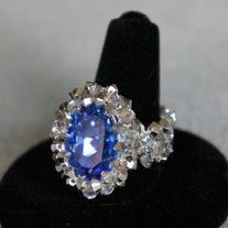 I really love this ring. It is made with a 13x18mm Swarovski Sapphire crystal and 3mm crystal Argent Swarovski bicones.