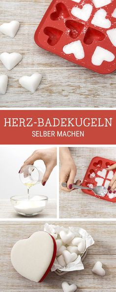 Tipps zum Entspannen: Badekugeln in Herzform selbermachen / get your daily dose . - Tipps zum Entspannen: Badekugeln in Herzform selbermachen / get your daily dose of wellness: diy fo - Diy 2019, Make Your Own, Make It Yourself, Presents For Her, Holiday Break, Deco Table, Bath Bombs, Xmas Gifts, Thoughtful Gifts