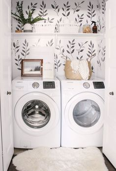 Love this small closet laundry room! Who says a small laundry room can't make a statement? The black & white wall decals tie the space together. Small Laundry Room - Home Decor - Farmhouse Laundry Room - Wall Paper Laundry Room Tiny Laundry Rooms, Laundry Room Design, Laundry In Bathroom, Laundry Nook, Small Laundry Closet, Laundry Decor, Laundry Closet Makeover, Laundry Closet Organization, Laundry Cupboard