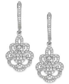 Wrapped in Love Diamond Victorian Drop Earrings in 14k White Gold (1 ct. t.w.)