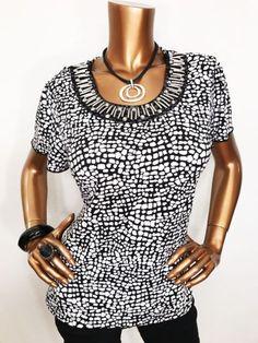 Sag Harbor Women M Blouse Top Short Sleeves Stretch Silver Hardware Black/White | eBay