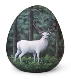 White buck into the woods | Acrylic on rock by Roberto Rizzo