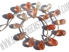 Tanzanian Sunstone Faceted Drops (Quality AA) / 6x9 to 6x10 mm / 6 to 8 Grms / 18 cm / SUNS-013 by GemstoneWholesaler on Etsy