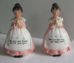 Vintage Enesco Kitchen Prayer Pink Lady Kitchen Salt and Pepper Shakers Rare