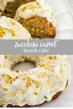 Zucchini Carrot Bundt Cake is an easy, homemade zucchini carrot cake topped with a tangy, sweet orange cream cheese glaze! Zucchini Bundt Cake Recipe, Zucchini Carrot Cakes, Carrot Pie Recipe, Zuchinni Recipes, Carrot Cake Topping, Bunt Cakes, Poke Cakes, Layer Cakes, Cream Cheese Glaze