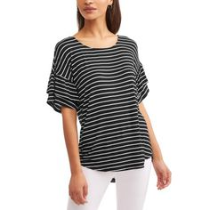 51122176b22cda Time and Tru - Women s Short Sleeve Scoopneck Ruffle T-Shirt - Walmart.com