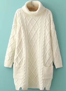High Neck Loose Patterned Knit Sweater