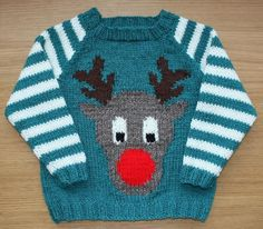 Christmas sweater knitting patterns: Rudi by Vikki Bird on LoveKnitting