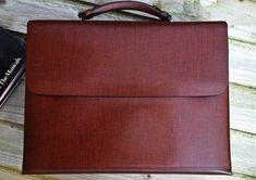 Genuine Leather Mens Briefcase Laptop by LuxuryLeatherLondon Cowhide Leather, Leather Bag, Briefcase Women, Clever Design, Brown Fashion, Modern Man, Bag Making, Shoulder Strap, Brown Style