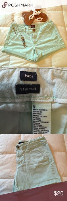 """American Eagle Mint Green Midi Shorts Super cute mint green American Eagle """"Midi"""" shorts.  Can be worn with or without cuffing the hem. No rips, tears, or stains. Excellent condition! Smoke free home. American Eagle Outfitters Shorts"""