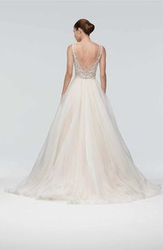Main Image - Watters Janet Embellished Tulle & Organza A-Line Gown
