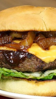 Steakhouse Smoky Barbecue Beer Burgers with Caramelized Beer Onions