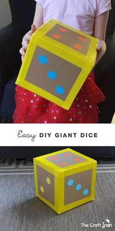 Easy DIY Giant Dice - this would be great for active math games! Easy DIY Giant Dice - this would be great for active math games! Math Games, Fun Games, Maths, Easy Games For Kids, Toddler Games, Crafts For Kids, Diy Crafts, Math Crafts, Kids Diy