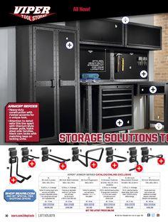 Viper tool storage system for garage. Like black locker, workbench and cabinets. Via Sears.com/shoptools - catalog p.30