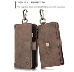 CaseMe 009 iPhone 7 Metal Buckle Zipper Wallet Detachable Folio Case Coffee