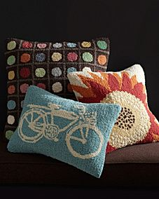 Garnet Hill Hooked Wool Pillow Cover Collection - the orange sunflower pillow would look great in the new bedroom Wool Pillows, Throw Pillows, Wool Rug, Punch Needle Patterns, Latch Hook Rugs, Rug Hooking Patterns, Hand Hooked Rugs, Penny Rugs, Rug Making