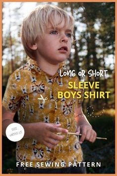 Long or Short Sleeve Boys Shirt FREE sewing pattern (6mths-2T). This awesome FREE pdf pattern comes in five sizes while there are other sizes available in the designer's shop. This fantastic Boys Shirt sewing pattern has both a long sleeve and short sleeve version. Boys Sewing Patterns, Sewing For Kids, Free Sewing, Free Pattern Download, Long Sleeve And Shorts, Kids Tops, Party Tops, Modern Kids, Boys Shirts