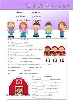 "A practise sheet for beginners. The verb ""to have"". - ESL worksheets"