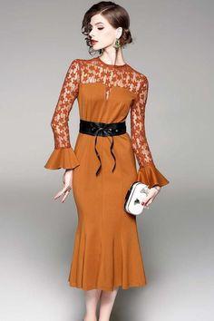 Bell sleeve perspective fishtail midi dress