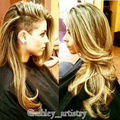 Loved doing this look. A ton of highlights and long layers. The shaved patch is always cool @ashley_artistry