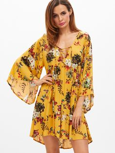 Shop Yellow Flower Print Lace Up Plunge Neck Bell Sleeve Dress online. SheIn  offers Yellow Flower Print Lace Up Plunge Neck Bell Sleeve Dress   more to  fit ... 7c7d5fa89