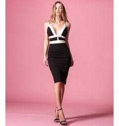 Δίχρωμο Pencil Στενό Φόρεμα με Βε και Ραντάκια - Λευκό  - Μαύρο Bodycon Dress, Fashion Outfits, Gypsy, Boho, Black, Dresses, Vestidos, Body Con, Black People