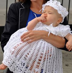 Crochet Christening Dress and handband with flowers by Dachuks, $98.00