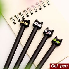 8 pçs/lote do gato preto caneta Gel Canetas de papelaria Kawaii bonito Canetas escola escritório material escolar 6548 em Canetas gel de Escritório & material escolar no AliExpress.com | Alibaba Group