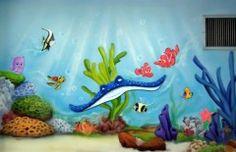 mar 40 Mural infantil de nemo.
