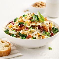 Salade de pâtes, brocoli et bacon - Je Cuisine Cold Meals, Pasta Salad, Potato Salad, Macaroni And Cheese, Bacon, Salads, Lunch Box, Healthy Recipes, Healthy Food