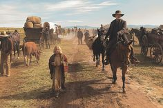 News of the World was filmed across the state of New Mexico in numerous locations, a physical challenge for the movie's stars—11-year-old German actress Helena Zengel (center) and Tom Hanks (right, on horseback)—and its large supporting cast, hundreds of extras, teamsters, crew and livestock.