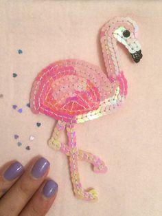 Kawaii Pink Flamingo sequin patch - One of a Kind Handmade