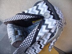 179196cafbe Carseat Canopy Black Grey Chevron REVERSIBLE by fashionfairytales on Etsy  https   www.