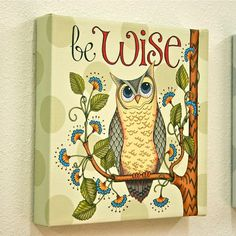Giclee Wrapped Canvas Art Print  Be Wise Owl  by karladornacher, $30.00