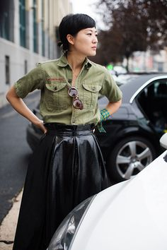 olive utility shirt + patent leather skirt