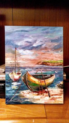 Love Canvas Painting, Sailboat Painting, Simple Canvas Paintings, Canvas Painting Tutorials, Diy Canvas Art, Seascape Paintings, Boat Art, Lovers Art, Bunt