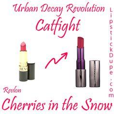 Urban Decay Revolution Lipstick Catfight Dupe Revlon Cherries in the Snow Drugstore Makeup, Lip Makeup, Beauty Makeup, Beauty Dupes, Beauty Products, Beauty Hacks, Urban Decay Revolution Lipstick, Makeup Revolution, Urban Decay Dupes