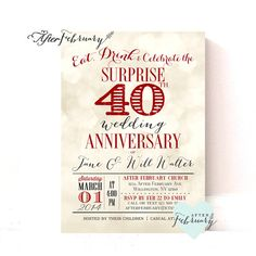 Th Wedding Anniversary Invitation  Confetti  Gold White