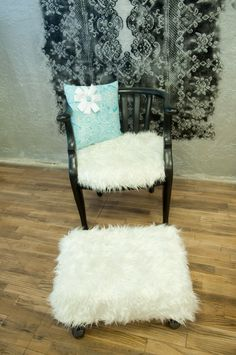 this is a rounded high gloss black chair with furry material with a matching stool. Great for photo prop. Antique Furniture For Sale, Stool, Chair, Photo Props, High Gloss, Antiques, Black, Antiquities, Antique