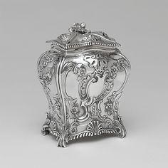 Tea Caddy, Emick Romer, Silver, British, c. 1762-63, Met Collection.