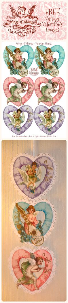 Happy Valentine's Day! Vintage ~ Wings of Whimsy: Valentine Hearts Large - free for personal use