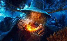 """(Gif set) Setting pine cones on fire!  """"He (Gandalf) gathered the huge pine-cones from the branches of his tree. Then he set one alight with bright blue fire and threw it whizzing down among the circle of the wolves.""""—The Hobbit, Out of the Frying-Pan Into the Fire"""