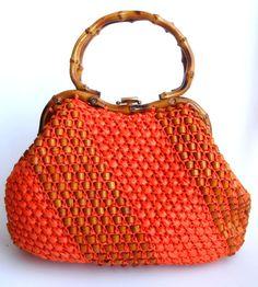 ORANGE Woven Raffia Handbag with Bamboo Handle & Beads. $38.50, via Etsy.
