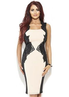 Amy Childs Eloise Dress Nude With Black Lace Panels