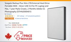 Seagate Backup Plus Slim External Hard Drive Portable HDD – Silver USB for PC Laptop and Mac, 1 year Mylio Create, 2 Months Adobe CC Photography Hdd