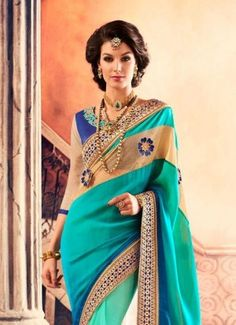 Product Code  41952 - Sea Green Pure Georgette Designer Saree with unstitched blouse
