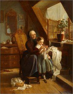 Johann Georg Meyer von Bremen_the sewing lesson