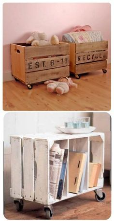 DIY - Repurpose crates with casters to make side tables or toy boxes. Lovely idea. Crates often can be found at Jo-Ann Fabrics.